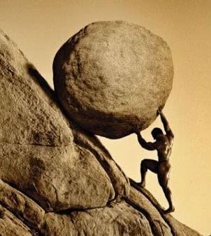 Sysifus, was punished by being forced to roll an immense boulder up a hill, only to watch it roll back down, repeating this action for eternity.