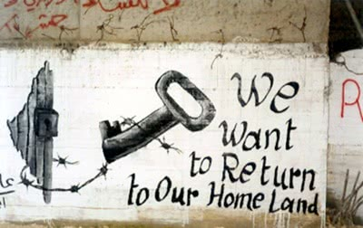 Why are people refugees. Mural at Dheishe, a Palestinian Refugee Camp