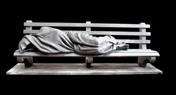 Homeless Jesus. A sculpture by Timothy Schmalz