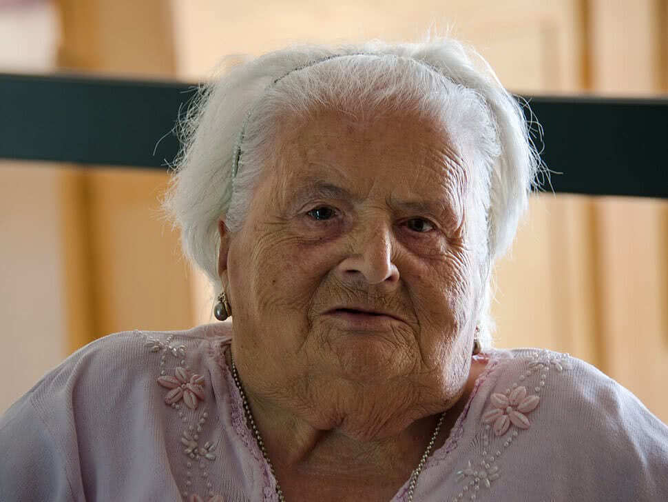 Theresa Pollacco, a happy elderly resident at St. Paul's home in Ħamrun