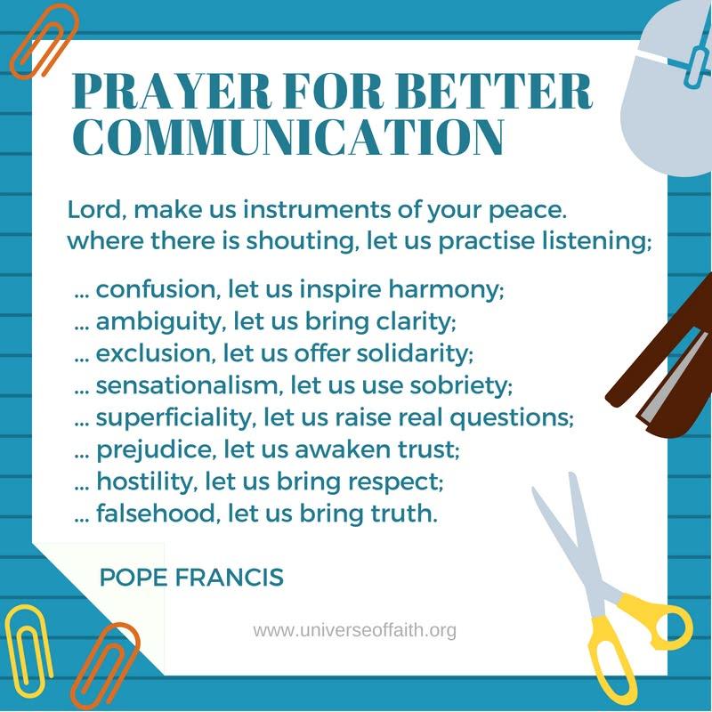 Prayer for better communication Pope Francis